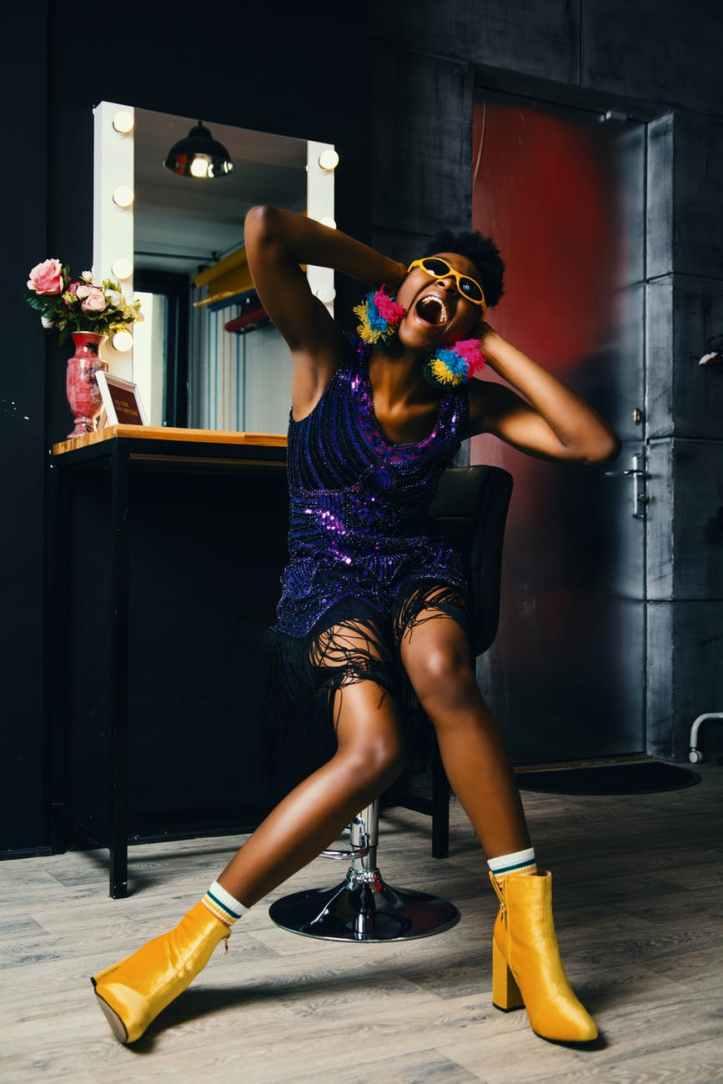 photo of woman wearing funky dress
