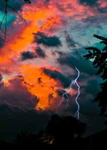 lightning during golden hour